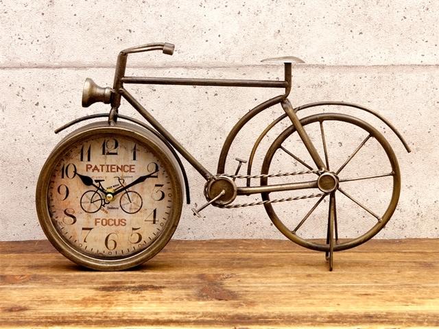 レトロデイズクロック[BICYCLE]自転車 モチーフ/置時計 おしゃれ/かわいい/雑貨/アンティーク/アナログ/大きい/北欧/プレゼント