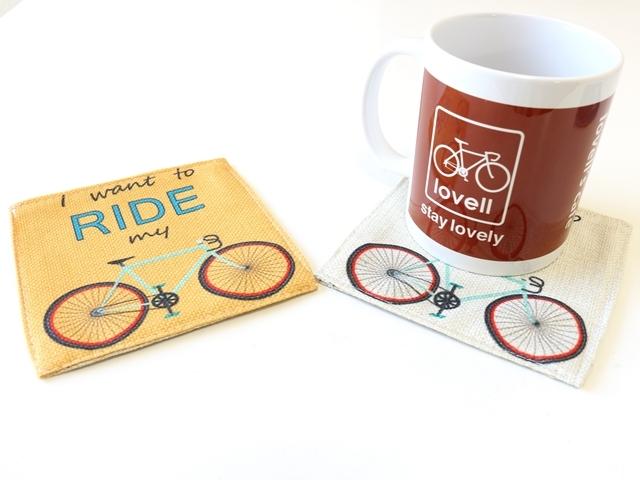 送料無料/コースター 撥水 おしゃれ プレゼント 父の日 ギフト プチギフト/北欧/かわいい/人気/キッチン/自転車柄/自転車雑貨/自転車