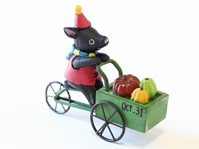 ハロウィン ピック かぼちゃ パンプキン オーナメントデリバリーパンプキン キャット 猫 ネコ ピッグ ブタ 自転車 モチーフ かわいい