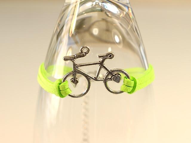 送料無料/ブレスレット/ブレス レディース メンズ レザー ペア 華奢 自転車 自転車モチーフ かわいい おしゃれ 自転車チャーム