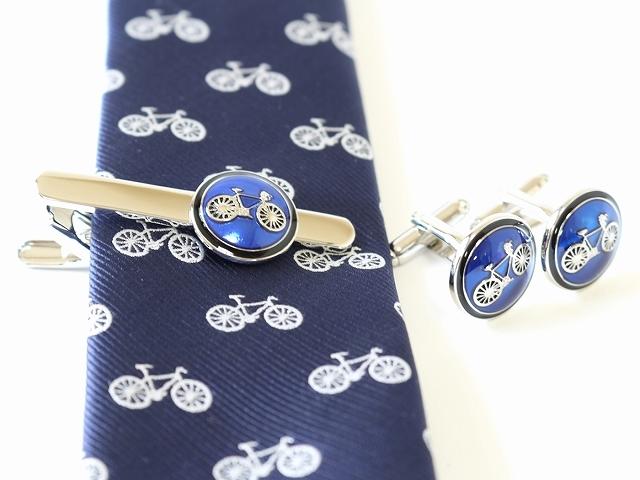 ネクタイピン カフス セット タイピン カフリンクス メンズ タイバー おしゃれ 自転車 自転車柄 自転車モチーフ プレゼント ギフト