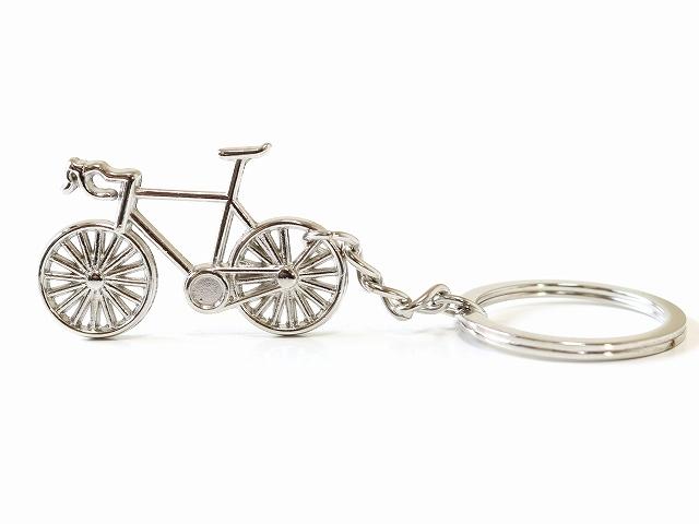 キーホルダー おしゃれ メンズ/キーリング 自転車モチーフ/レディース/ロードバイク/かわいい バッグチャム/シルバー