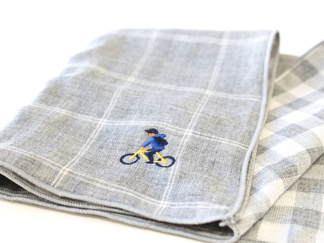 ハンカチ プレゼント,ハンカチーフ,おしゃれ,自転車 刺繍,サイクリング,チェック柄,レディース,かわいい,自転車モチーフ,ダブルガーゼ