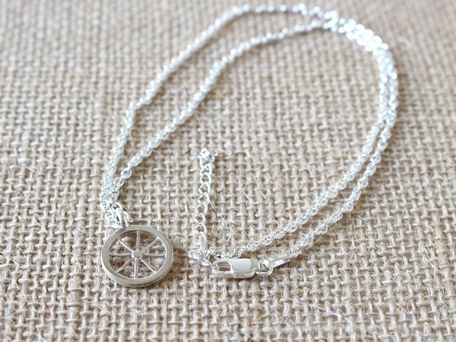 ネックレス メンズ シンプル/ネックレス シルバー932/自転車 モチーフ/ロードバイク/ホイール/バイクチェーン/彼女 妻 プレゼント