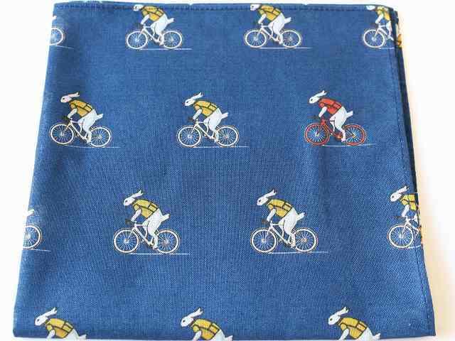 ハンカチ プレゼント ハンカチーフ おしゃれ メンズ レディース 可愛い 自転車柄 うさぎ サイクリング 自転車モチーフ ギフト かわいい