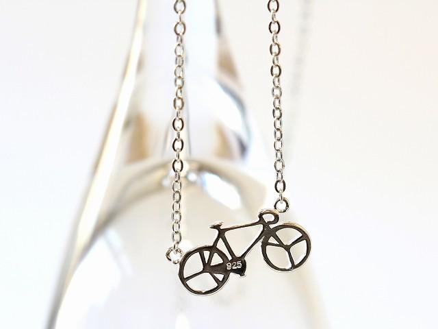 送料無料 自転車ネックレス ジュエリー シルバー928 ネックレス ロング シルバー チェーン メンズ レディース 自転車モチーフ ギフト
