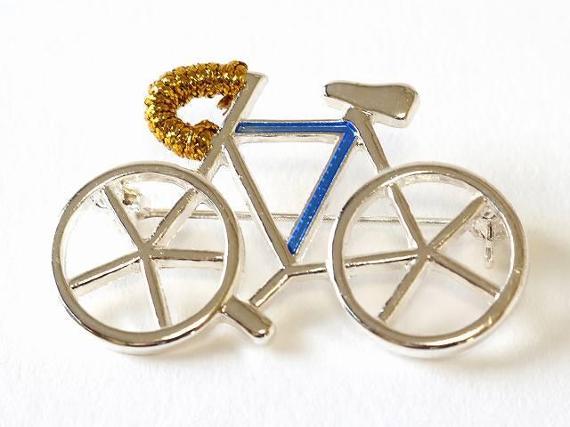 送料無料 自転車ブローチ 自転車モチーフ ロードバイク ブローチ メンズ レディース サイクル ギフト プレゼント シルバー かわいい