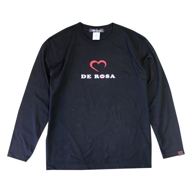 自転車ブランドDEROSA デローザ ロングTシャツ 長袖 トレーナー 自転車柄 ハート柄 Cuore Passione  メンズ秋冬コーデ