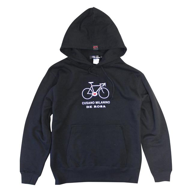 自転車ブランドDEROSA デローザ パーカー 長袖 ハート 自転車柄 ハート柄 自転車 Cuore Passione メンズ秋冬コーデ