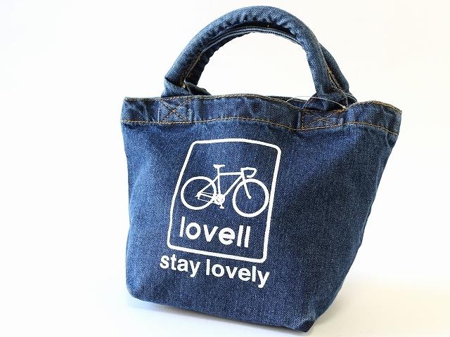 lovellデニムランチバック かわいい おしゃれ インディゴ お弁当 昼食 通勤通学 ラベル 自転車 ロードバイク 自転車柄 自転車モチーフ