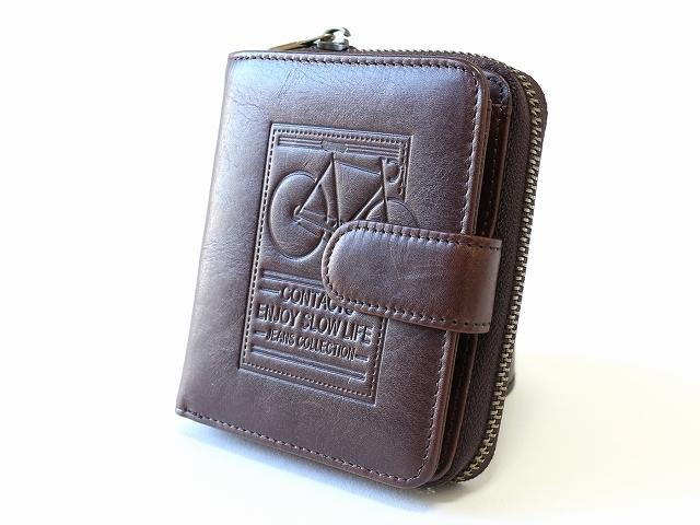 財布 メンズ 二つ折り ファスナー 小銭入れあり レディース 自転車 牛革 自転車柄 自転車モチーフ おしゃれ 自転車好き 誕生日プレゼント