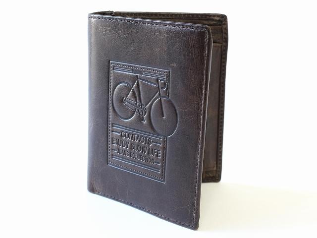 本革レザーのお財布 メンズ 二つ折り 小銭入れあり 牛革 安い 人気ランキング 自転車刻印 ビンテージ レトロ調 お洒落 自転車柄 サイフ