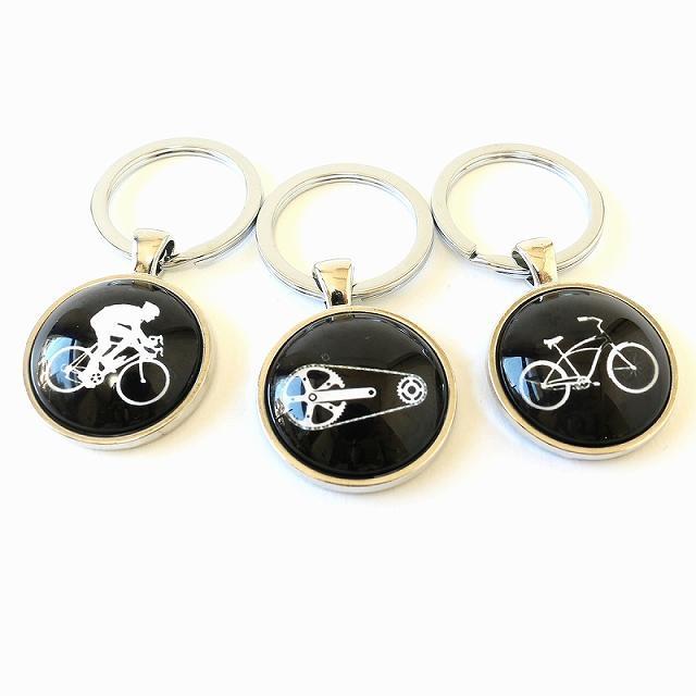 自転車キーホルダー 自転車モチーフ バッグチャーム 鍵 キーリング (ギア・チェーン)
