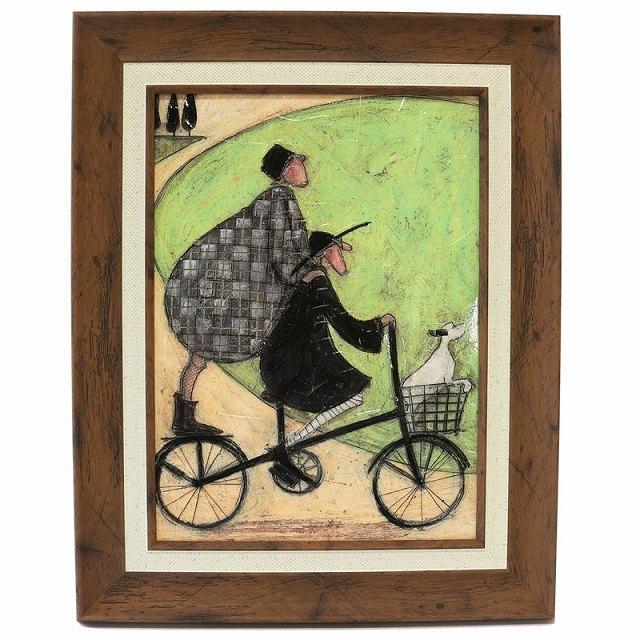 自転車ポスター ゲル加工 おしゃれ 自転車 レトロ アートポスター 自転車柄 北欧 インテリア 雑貨 アートパネル 「二人乗り」サムトフト
