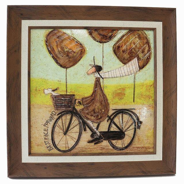 自転車 アートフレーム 北欧 インテリア アートパネル「いつも笑顔で」イギリス サムトフト 壁掛け/絵のある暮らし/自転車雑貨