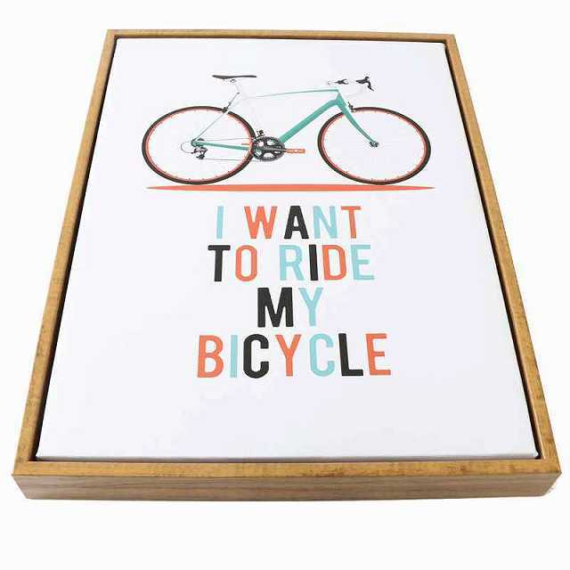 自転車 ポスター アートパネル 輸入 壁掛け インテリア 絵 額付 木製