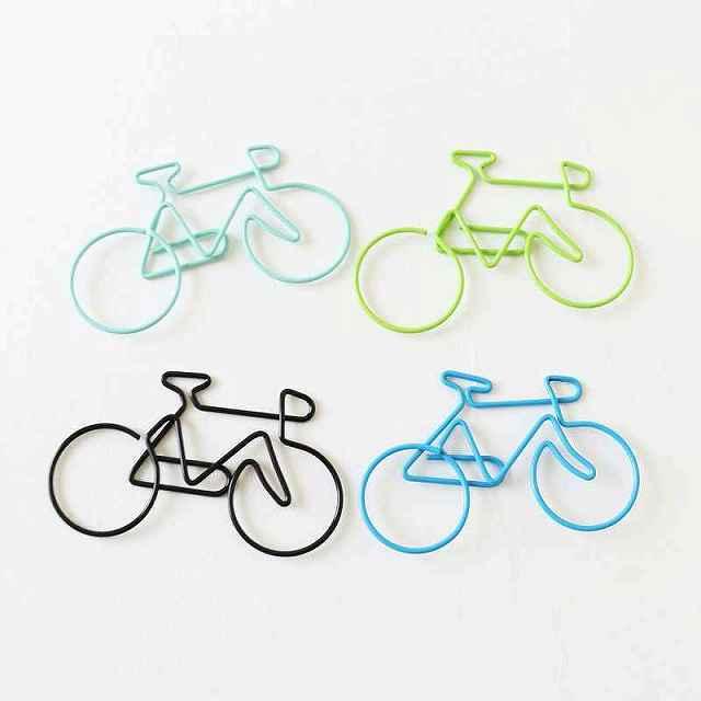 クリップ 自転車 カラフル 大きめ 自転車モチーフ 自転車雑貨 アンティーク 書類 ペーパークリップ 自転車柄