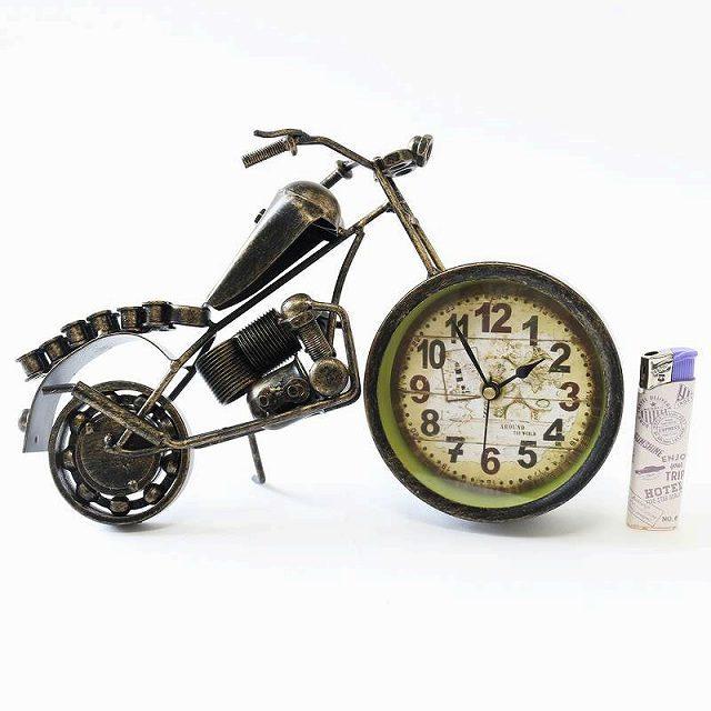 ブリキバイク 置き時計 時計 バイク 好き 置時計 プレゼント バイク乗り 雑貨 バイク オブジェ ブリキ レトロ雑貨 置物 小物 模型