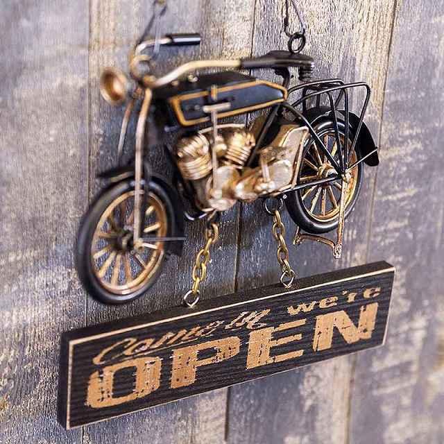 ヴィンテージカー プラッケ OPEN & CLOSED(Bike) (オープン クローズド)ドアプレート バイク ドア飾り プレート
