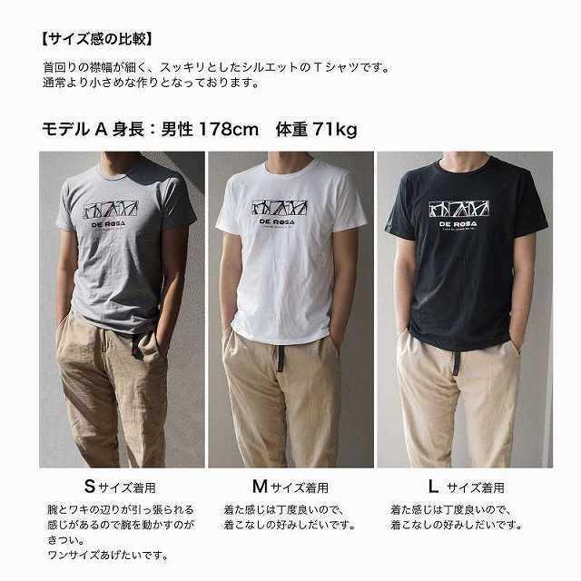 DE ROSA T-shirt デローザ DEROSA(デローザ) 半袖Tシャツ ロードバイク 自転車 ブランド tシャツ 自転車柄 ハート柄 可愛い ロード自転車