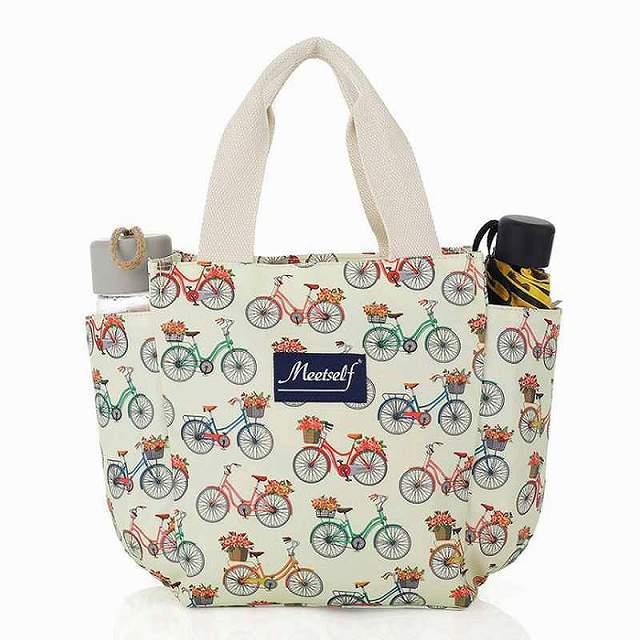 自転車柄 ハンドバッグ ファスナー付き 自転車 お散歩 お弁当 トートバッグ