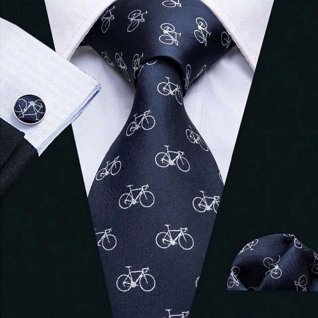 自転車 ネクタイ ポケットチーフ カフス 3点セット 自転車柄 自転車好き 結婚式 自転車刺繍 自転車 雑貨