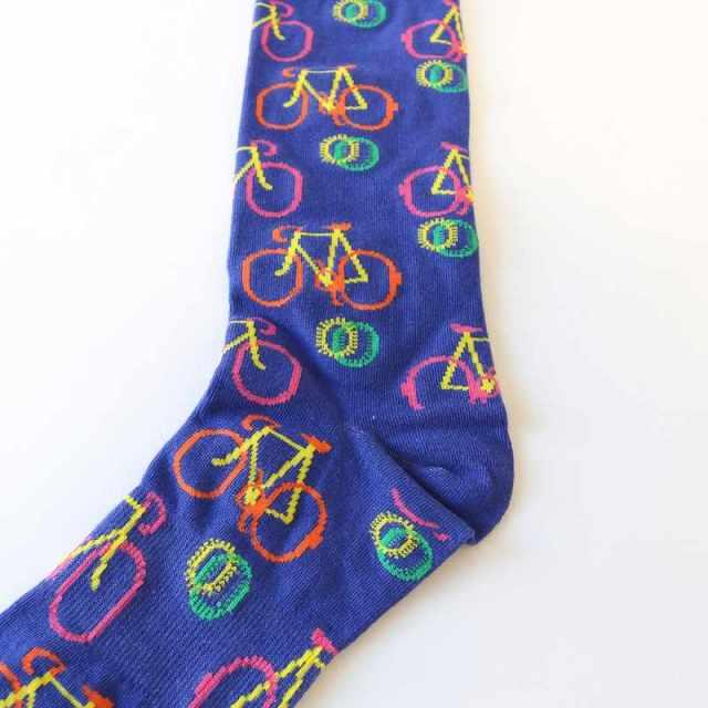 自転車 クルー丈 ソックス 靴下 ユニセックス メンズ レディス ロードバイク 自転車柄 ペア かわいい オシャレ プレゼント
