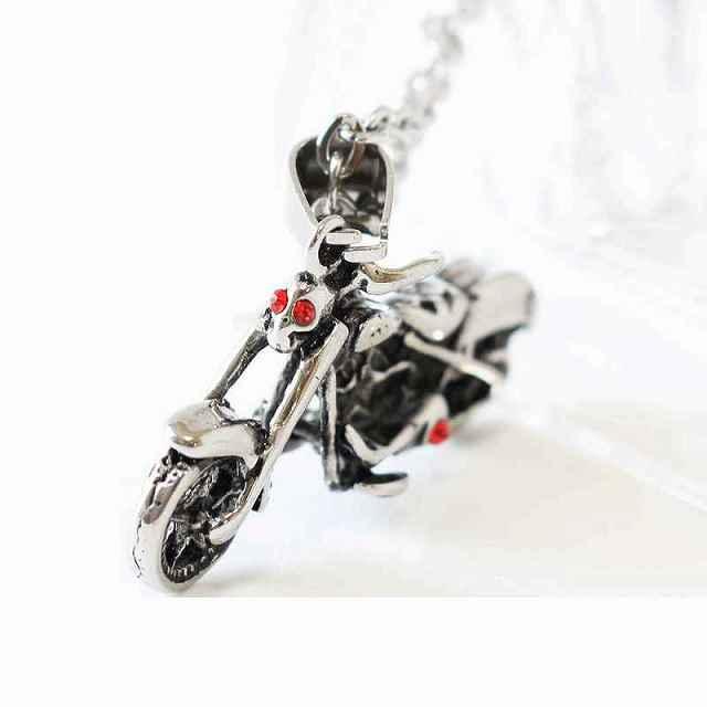 スカル バイクネックレス シルバー ドクロ ペンダント ネックレス バイク 存在感抜群 バイクネックレス ガイコツ 髑髏 キモカワ