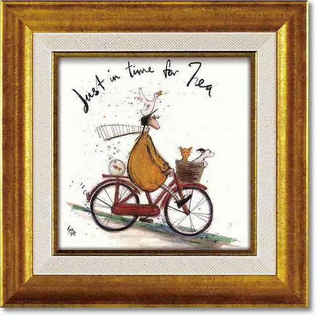 自転車 ポスター アートパネル 絵画 サムトフト アートフレーム サム トフト「お茶の時間」