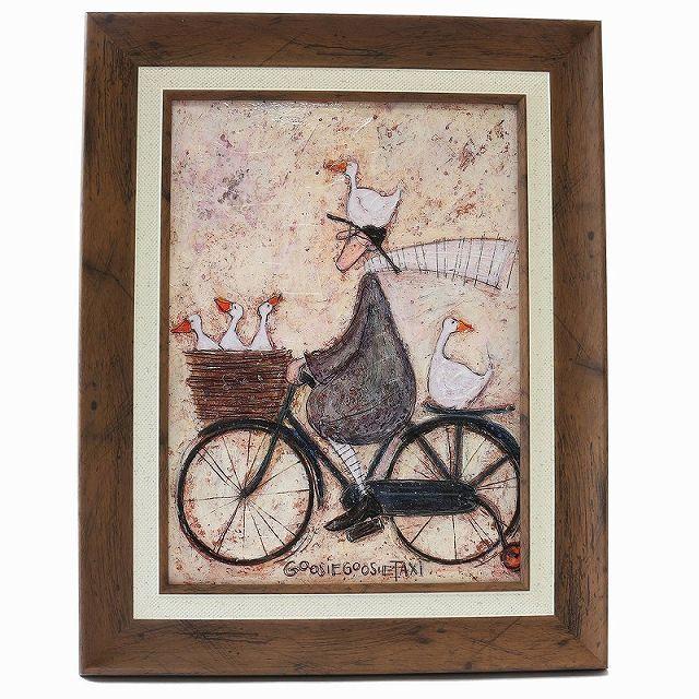 北欧 インテリア アートパネル「ガチョウ タクシー」サムトフト ゲル加工アート/絵画通販/壁掛けフック付き/絵のある暮らし/自転車雑貨