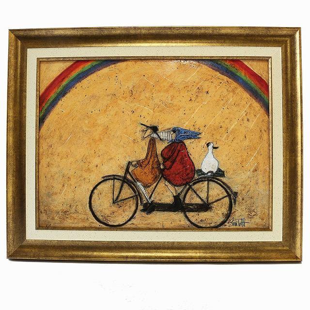 自転車ポスター ゲル 自転車 レトロ アートポスター 自転車アートフレーム 北欧インテリアアートパネル「虹に向かって」サムトフト