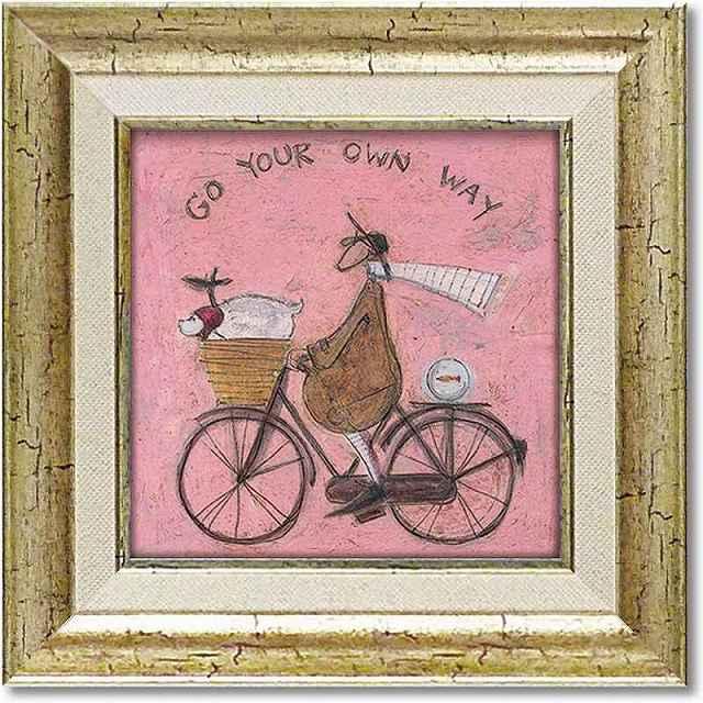 自転車ポスター アートパネル 絵画 サムトフト「あなたの道を行く」ゲル加工 おしゃれ 自転車