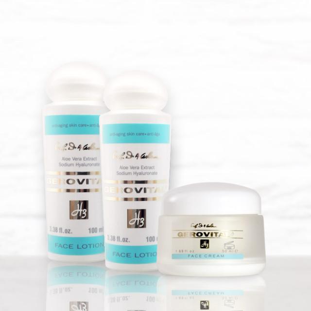 ジェロビタールH3 保湿クリーム・化粧水3点セット(フェイスクリーム50g&フェイスローション100ml ×2本)【宅配便配送】【送料無料】