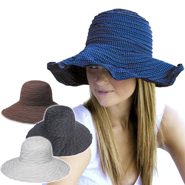 サングローブ UVカット 帽子 レディース ファブリック スクランチ ハット 日よけ 帽子 UVハット(サーフハット/ビーチハット/マリンハット/サンハット/UVカット帽/日除け 帽子/つば広/折り畳み)【送料無料】