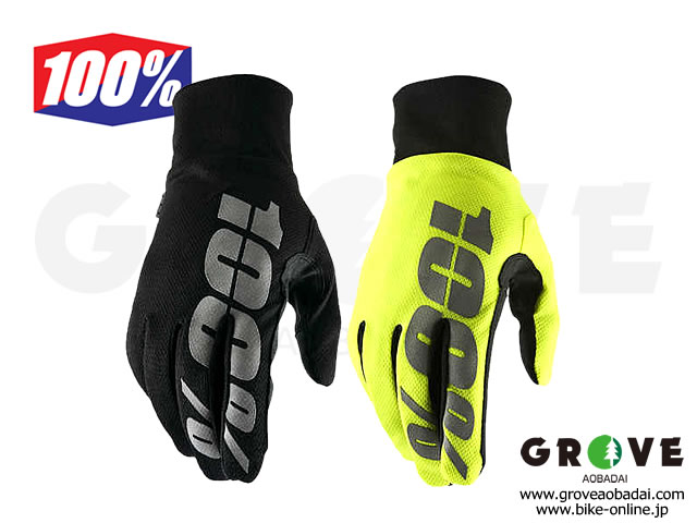 100% Goggle [ HYDROMATIC Waterproof Gloves ] 防水グローブ Black/Yellow 【GROVE青葉台】