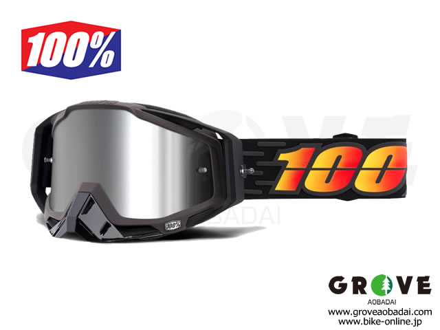 100% [ Racecraft PLUS レースクラフト Goggle ゴーグル ] Costume - Injected Silver Flash Mirror Lens 【GROVE青葉台】