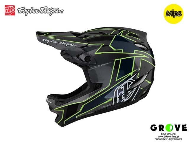 TroyLeeDesigns [ D4 CARBON HELMET 2021 ] GRAPH GRAY / GREEN  【GROVE青葉台】