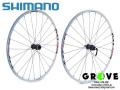 """SHIMANO シマノ [ WH-MT55 ホイールセット ] WHITE / 26"""" F 100x15Thru / R 135QR 【 GROVE鎌倉 】"""