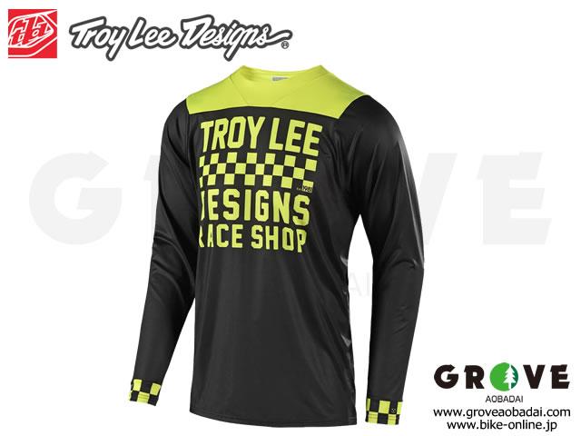 Troy Lee Designs トロイリーデザインズ [ SKYLINE CHECKER LS Jersey ジャージ ] 2018 / Black/Yellow 【GROVE青葉台】 ※在庫限定特価