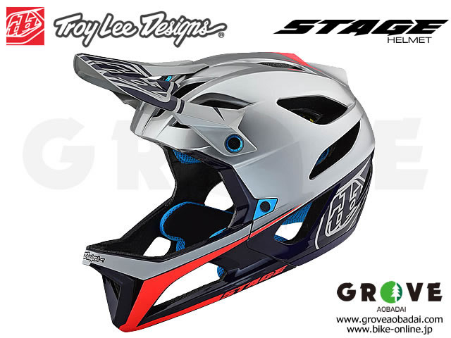 Troy Lee Designs トロイリーデザインズ [ STAGE Helmet Mips ] RACE - SILVER NAVY RED フルフェイス ヘルメット 【GROVE青葉台】