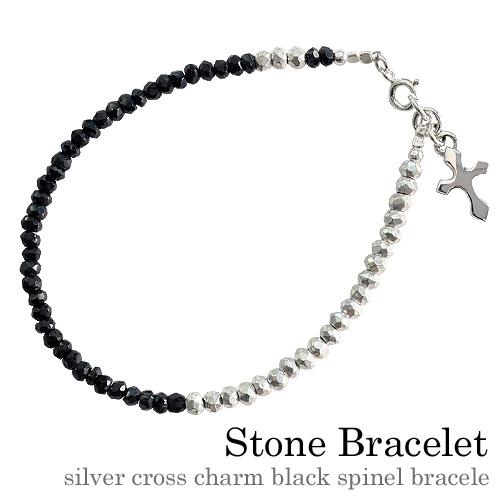シルバー クロス チャームブラックスピネル ブレスレット 天然石