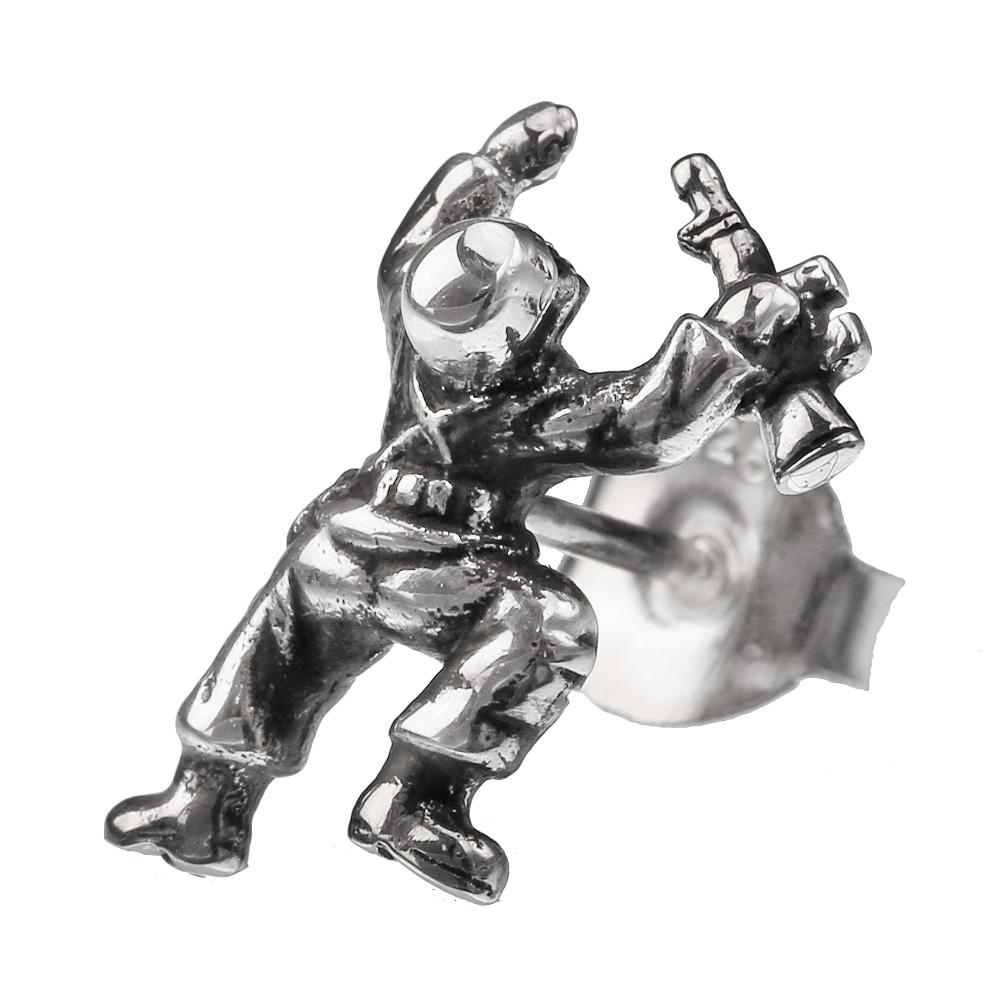 スカル ソルジャー スタッドピアス シルバー アクセサリー ピアス メンズ 兵士 兵隊 骸骨 ミニチュア [シルバーピアス] 片耳用(1個売り)