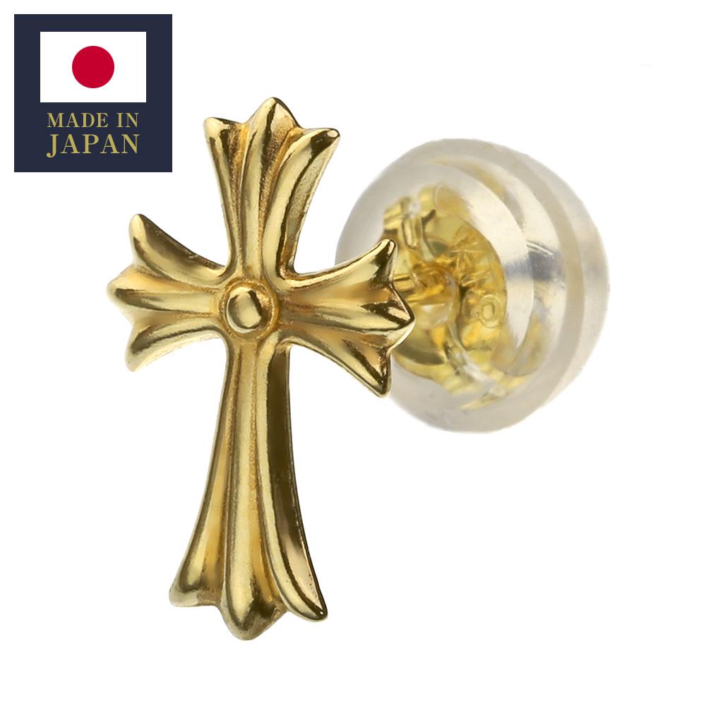 K18 ゴールド クロス スタッドピアス メンズ 18金 アクセサリー 男性 十字架 片耳用(1個売り)