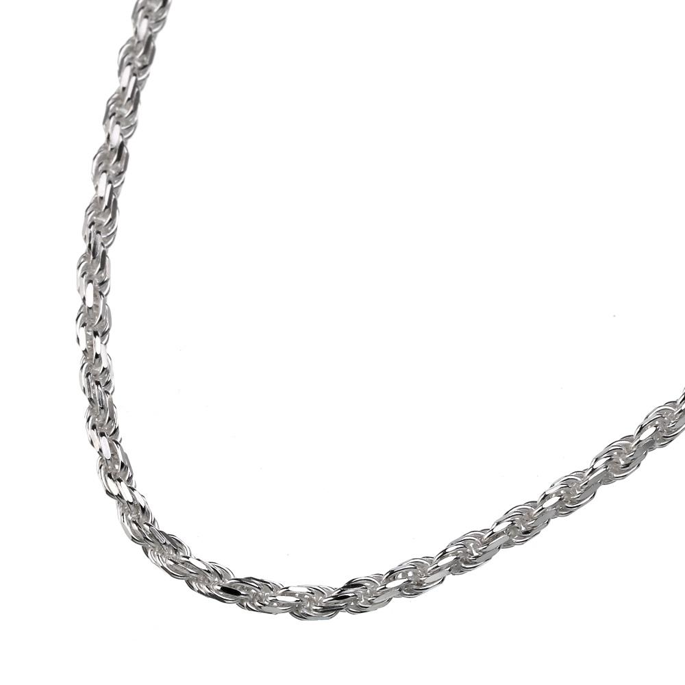 2mm カット フレンチ ロープ チェーン 50cm ネックレス スクリュー チェーン [シルバーチェーン]