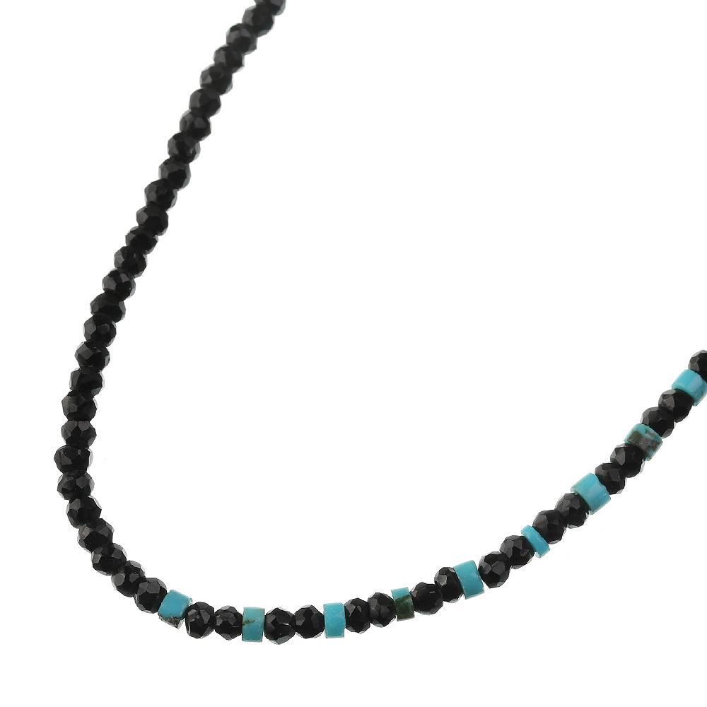 スピネルターコイズMIXネックレス シルバー アクセサリー ブラックスピネル ターコイズ (トルコ石)
