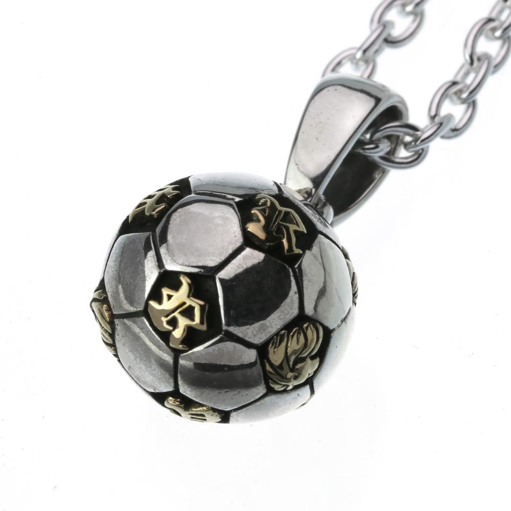 シルバーペンダント (3mmアズキチェーン割引セット) サッカー ボール スポーツ ネックレス メンズ シルバー アクセサリー[シルバーペンダント]