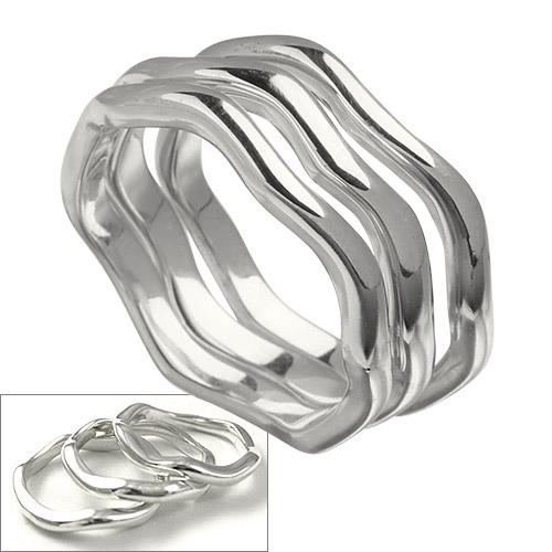 スリーリームス リング 3連 3セット ウェーブ 波 シルバー リング 指輪 [シルバーリング] 送料無料