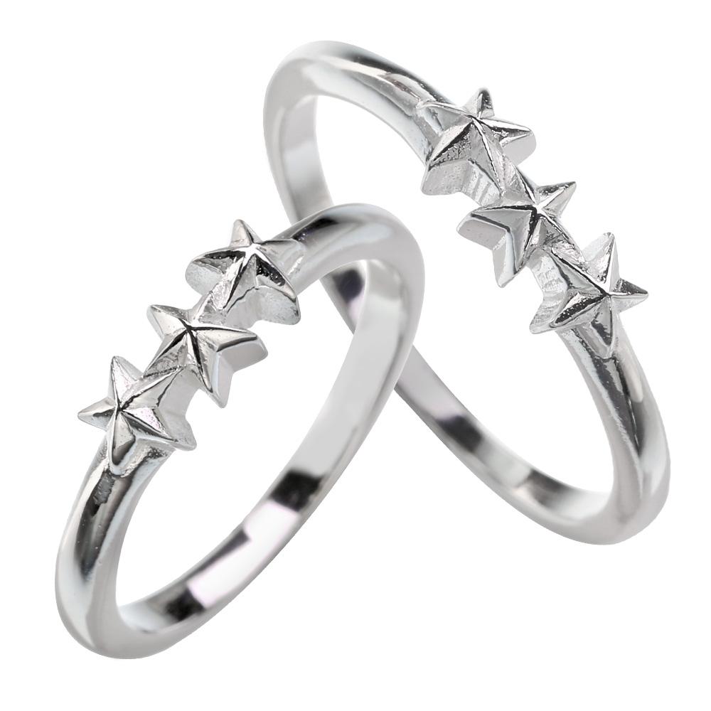 【ペア販売】マイクロ スリー スター ペアリング シルバー アクセサリー 指輪 送料無料 星 リング [シルバーリング]