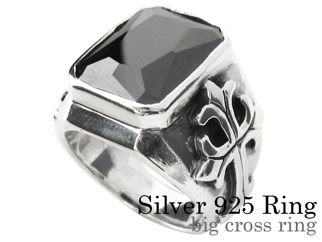 ビッグ クロス リング シルバー アクセサリー ジルコニア 指輪 [シルバーリング]