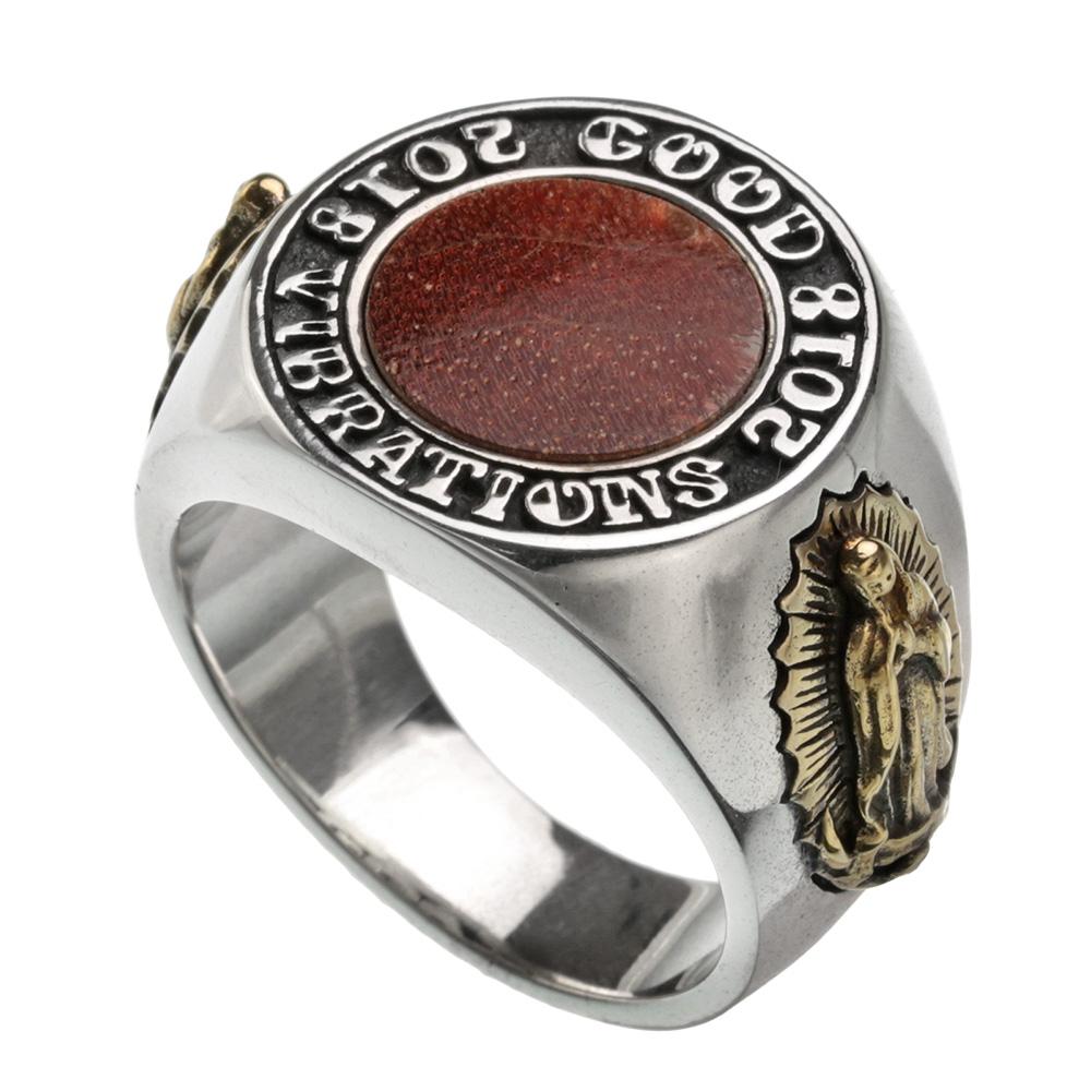 ラウンド ウッド マリアメダイ  カレッジリング シルバー アクセサリー リング 指輪 [シルバーリング] 送料無料